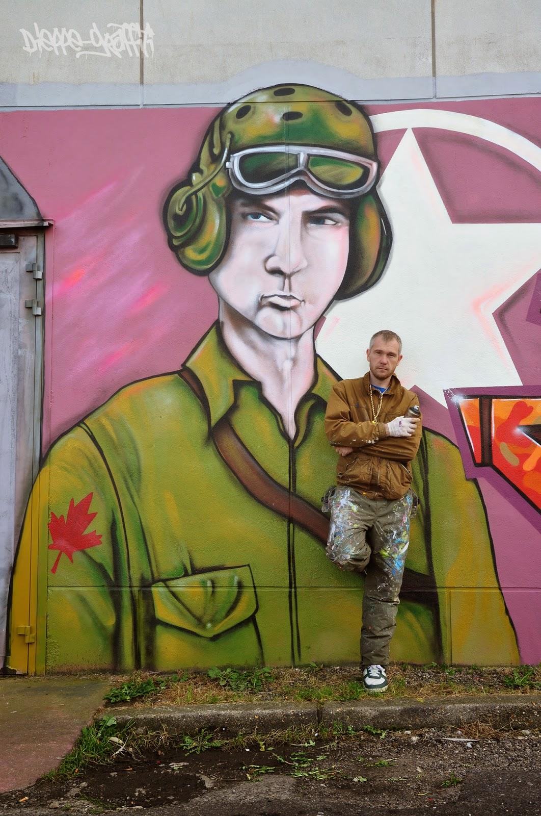 Graffiti réalisé par le graffeur Konu